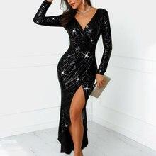 8b4234d61 Sexy Com Decote Em V de Alta Fenda Mulheres Vestido de Festa Glitter  Lantejoulas Bodycon Vestidos