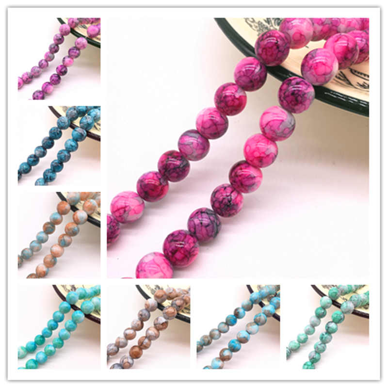 NEW 6/8/10mm  Double color Round Chic Glass Loose Spacer Painted Pearl Charm Beads DIY Jewellery Making Accessories #04