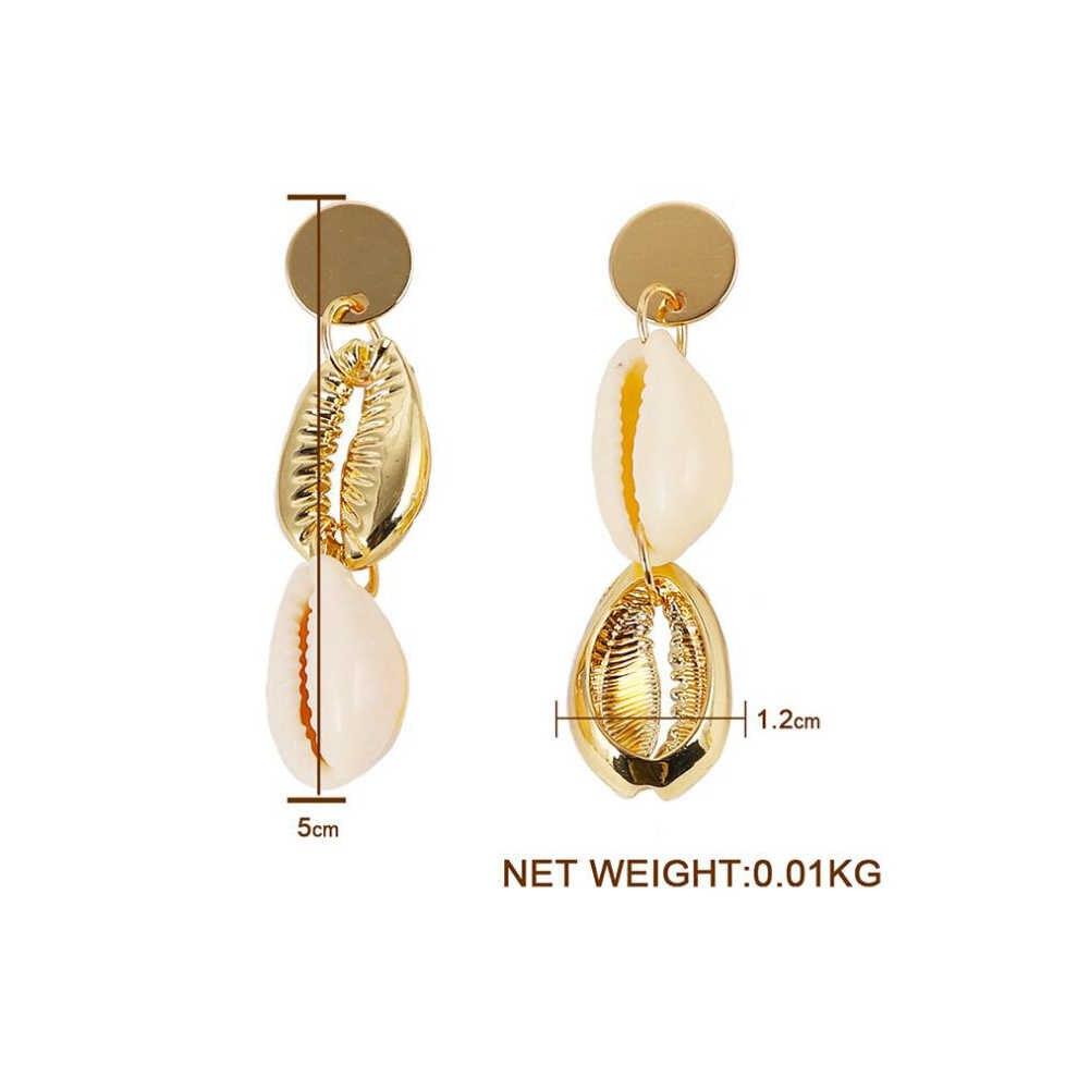Barock Süßwasser Perle Ohrringe für Frauen Natürliche Sea Shell Baumeln Ohrringe Neue Gold Farbe Big Erklärung Schmuck