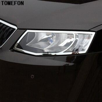 TOMEFON Untuk Skoda Octavia A7 Lampu Penutup Chrome Styling Tubuh Produk Dekorasi Eksterior Mobil-styling Aksesori Bagian 15-17