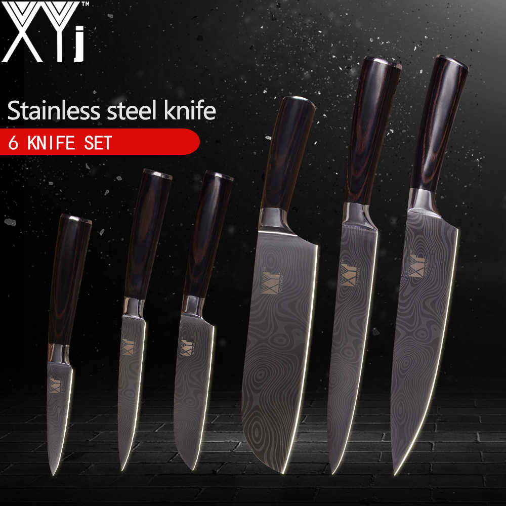 XYj Kitchen Knives 6Pcs Set 3.5, 5, 5, 7, 8, 8 inch Japanese Style Cooking  Tools High Carbon 7Cr17Mov Stainless Steel Knives