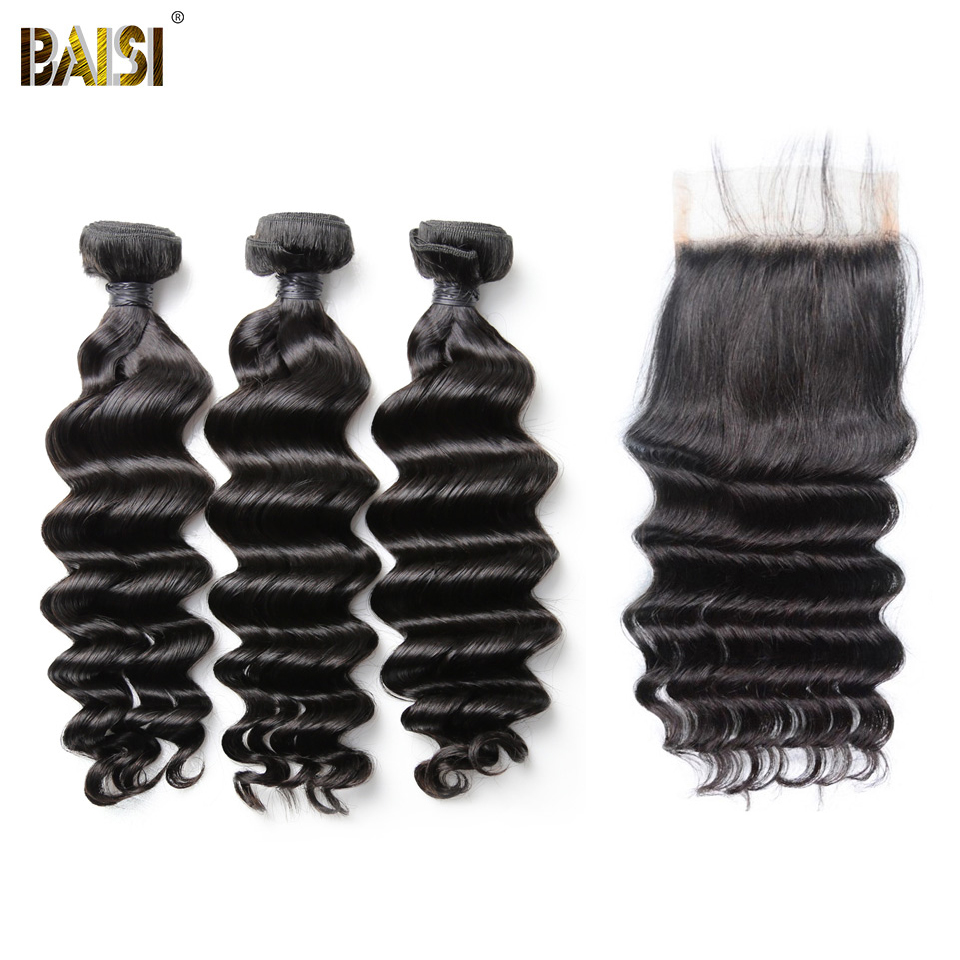 BAISI Hair Brazilian 8A Natural Wave Virgin Hair Weave 3 Bundles with Lace Closure 100 Human