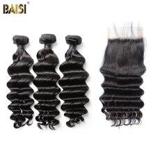 BAISI волосы бразильские 8A натуральные волнистые девственные волосы плетение 3 пучка с закрытием шнурка человеческие волосы