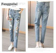 ФОТО women jeans pants spring and autumn fashion mickey new trousers for women 2018 new hole denim jeans