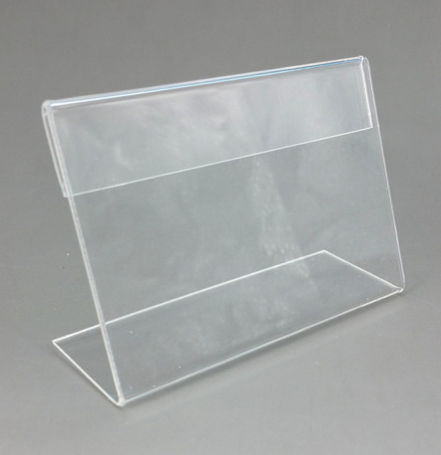9.5x7cm Acrylic Plastic Table Sign Price Tag Label Display Paper Promotion Card Holders T1.3mm L Stand 1000pcs Good Quality