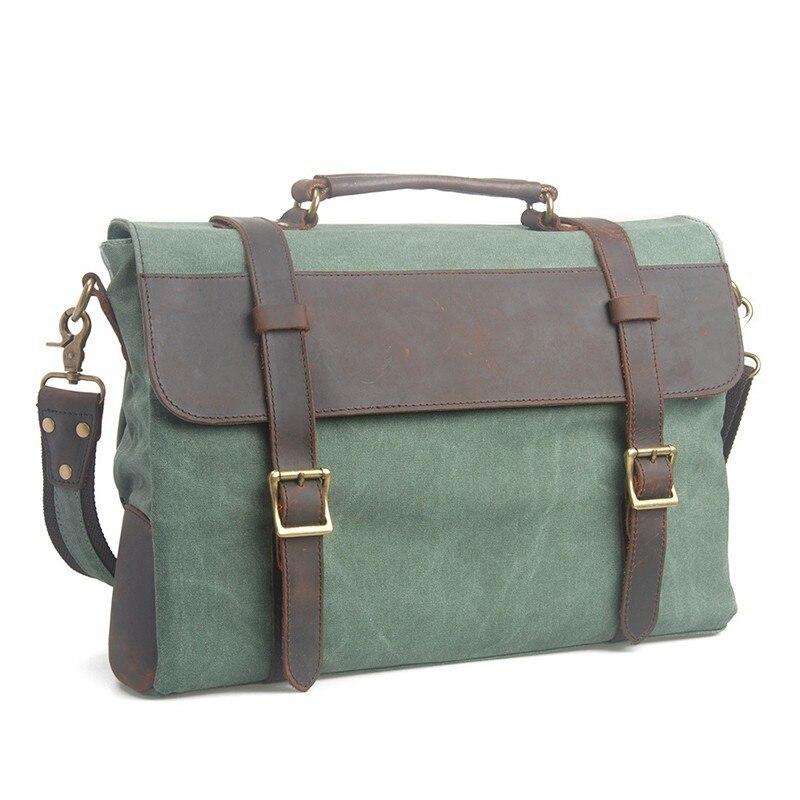 Shoulder Bag Men Portable Briefcase Men Canvas With Leather Handbag Bolso Hombre Messenger Bag Men Leather Laptop Bag Maletin
