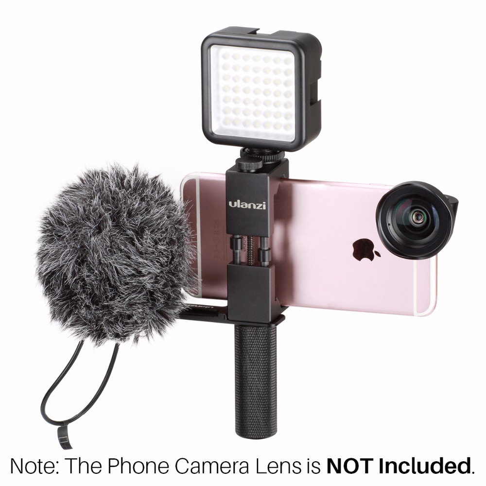 Ulanzi Poche Plate-Forme pour Smartphone avec BY-MM1 Microphone et 49 LED Vidéo Lumière Froide Chaussures Plaque pour iPhone Cinéma Vidéographie