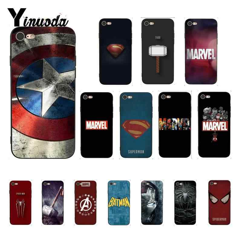 Yinuoda increíble Marvel Superman veneno escudo Spiderman funda para teléfono para iPhone 8 7 6 6S 6Plus X XS X MAX 5 5S XR 11 11pro 11promax
