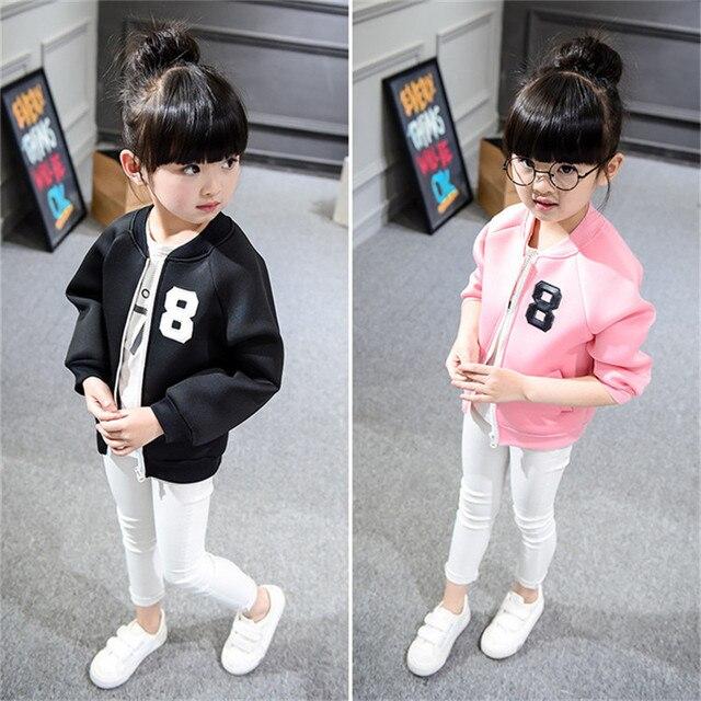 2016 Срок годности Настоящее детская Одежда И Аксессуары Балахон Девушка Бейсбол Куртка Молнии Кардиган Стежка Цифровой Sy381