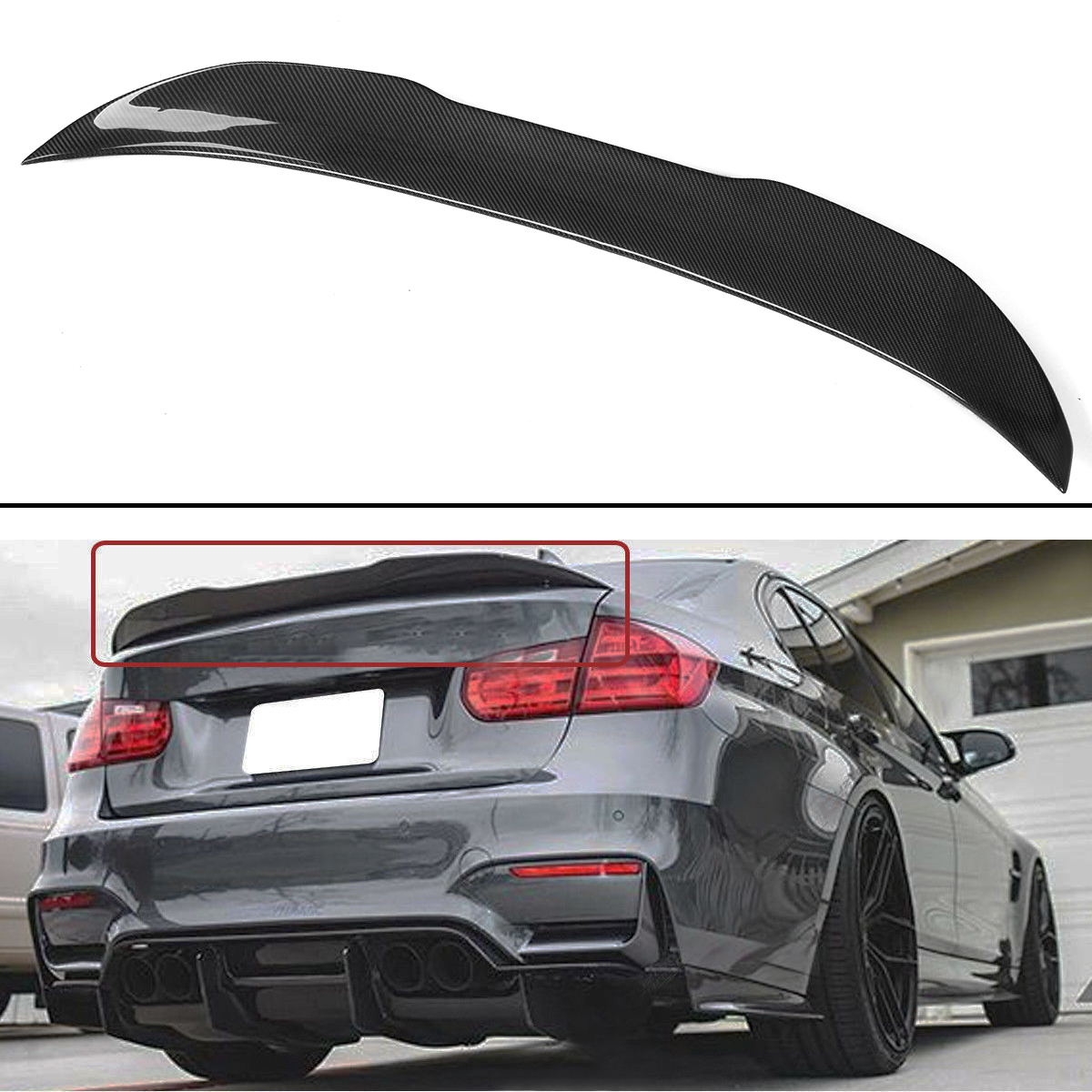 Real Carbon Fiber HighKick PSM Style Lid Spoiler Wing Trunk Spoiler Wings Lip for BMW 3 Series Sedan F30 330i 335i 2013-2018Real Carbon Fiber HighKick PSM Style Lid Spoiler Wing Trunk Spoiler Wings Lip for BMW 3 Series Sedan F30 330i 335i 2013-2018