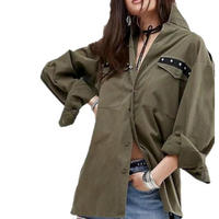 Military Green Back Fringe Rivet Jacket Tassels Vintage Korean Tops Green Shirt Cotton Soft Fitness Blusas