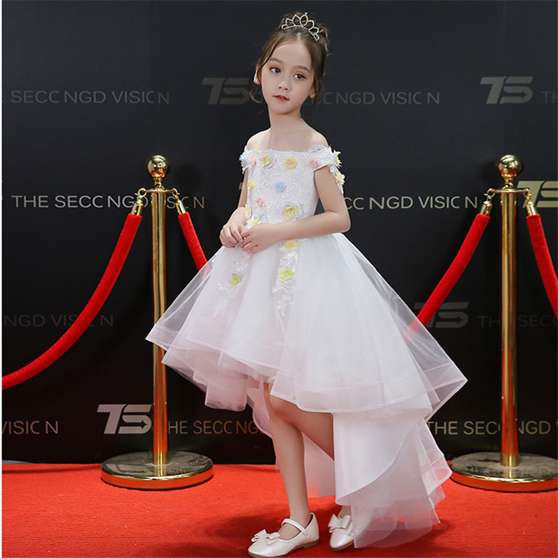Summer New Children Kids Birthday Wedding Party Dress With Trailing Girls Pink White Color Ball Gown Dance Communication Dress