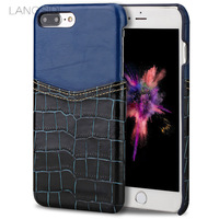 LANGSIDI Brand Phone Case Crocodile Pattern And Wax Leather Mixed Color Half Pack Phone Case For
