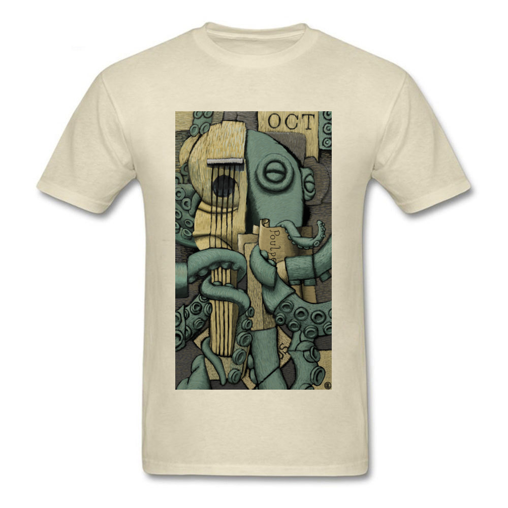 Vintage Octopus Tshirt Man Georges Braque T-shirt Artist Designer T Shirt Guitar Lover Monster Tops Mens Beige Tees Cotton