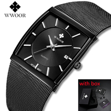 цена на WWOOR Luxury Top Brand Men Quartz Watch Square Male Date Clocks Stainless Steel Mesh Straps Sports Watches Gift montre homme #a