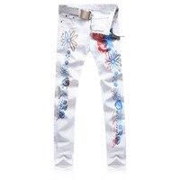 Chegada nova Mens Cor Padrão Floral Impresso calças de Brim Dos Homens Marca de Roupas Moda Night Club Casual Denim Jeans Para Homens