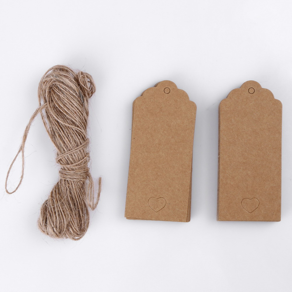100 Kraft Paper Gift Tags Heart Label Luggage Wedding Letters Card Strings FI