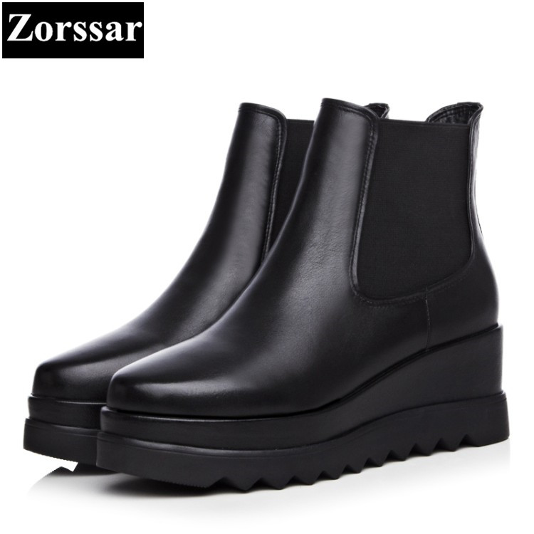 {Zorssar} 2018 NEW fashion thick heel Martin boots Genuine leather High heels platform wedge women ankle boots women shoes nayiduyun women genuine leather wedge high heel pumps platform creepers round toe slip on casual shoes boots wedge sneakers