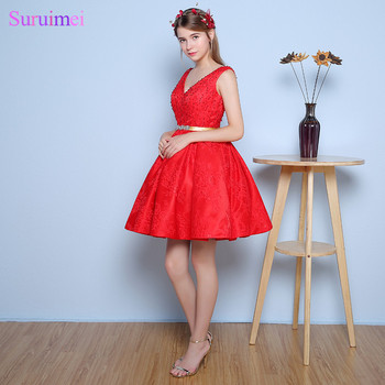 Backless Prom Dresses Short Knee Length With Beaded Gold Sash and Lace Applique 8 Grade V Back Red Girls Prom Dress Vestidos De