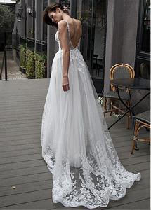 Image 3 - Fantastyczny tiul głęboki dekolt w szpic dekolt linia suknia ślubna z koronkowymi aplikacjami i paciorkami długa suknia ślubna suknie 2019