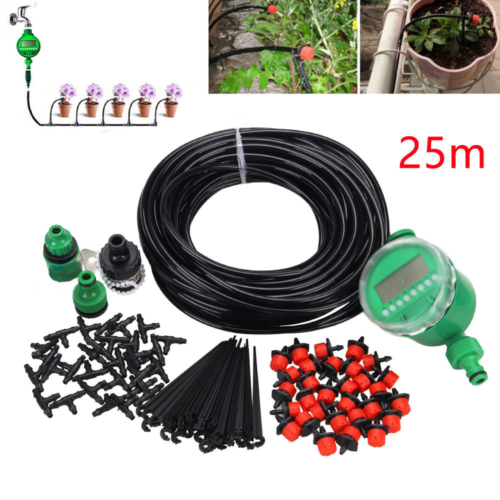 1 Set 20m adjusted Auto Timer Plant Self Watering Drip Irrigation Micro System Garden Dripper Hose