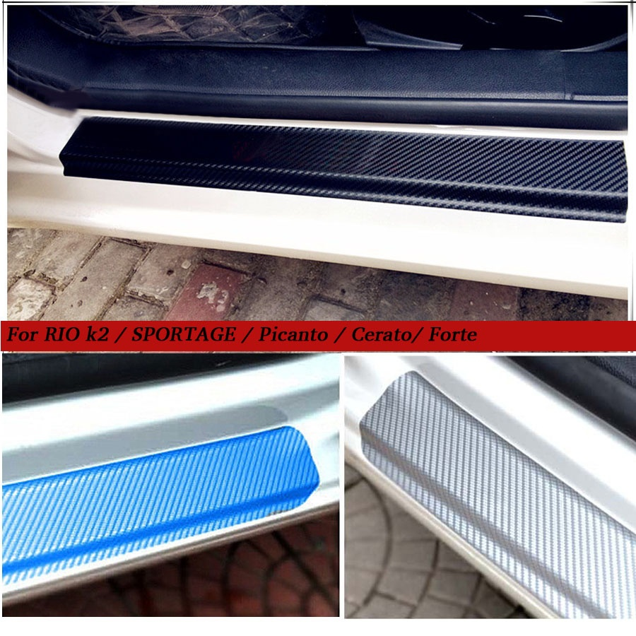 Carbon Fiber car Scuff Sticker Door Sill Sticker For KIA RIO k2 sedan hatchback SPORTAGE Picanto Cerato/Forte 2009-2017 4 Pcs