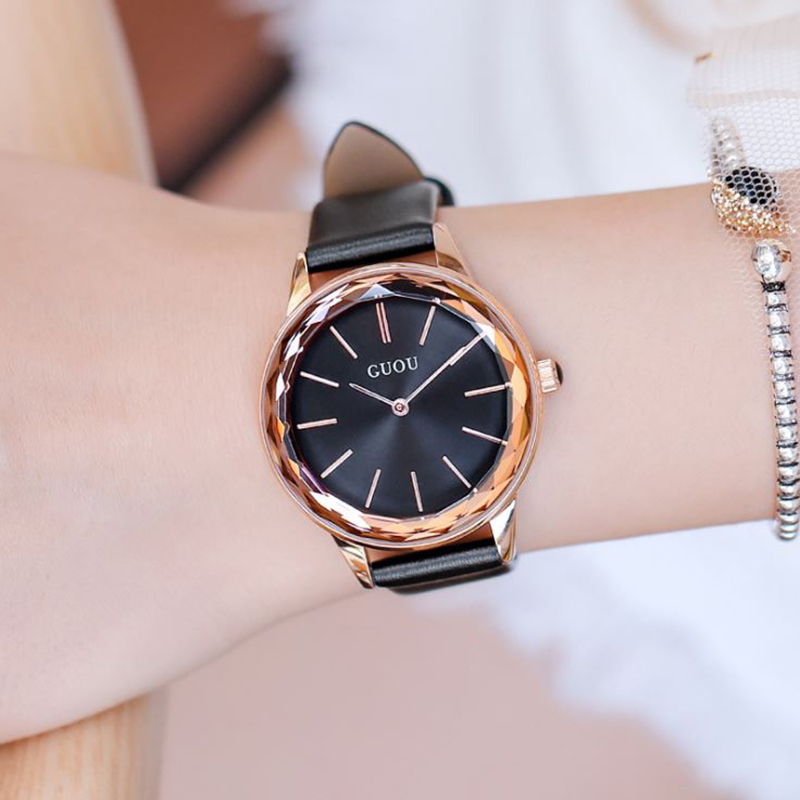 NEW GUOU Women Watches 2018 Luxury Dial Ladies Watch Rose Gold Bracelet Watch Leather Women Watch Clock relogio feminino saat top brand contena watch women watches rose gold bracelet watch luxury rhinestone ladies watch saat montre femme relogio feminino