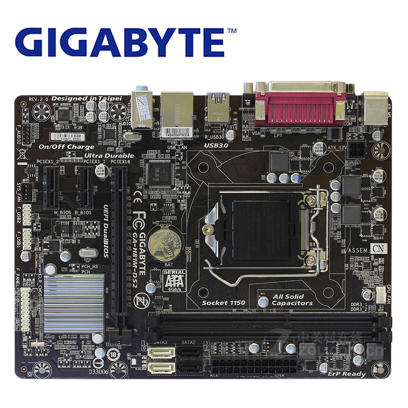 LGA 1150 For Intel H81 DDR3 Gigabyte GA-H81M-DS2 Motherboard USB3.0 16GB H81M DS2 Desktop Mainboard Systemboard Used H81M-DS2