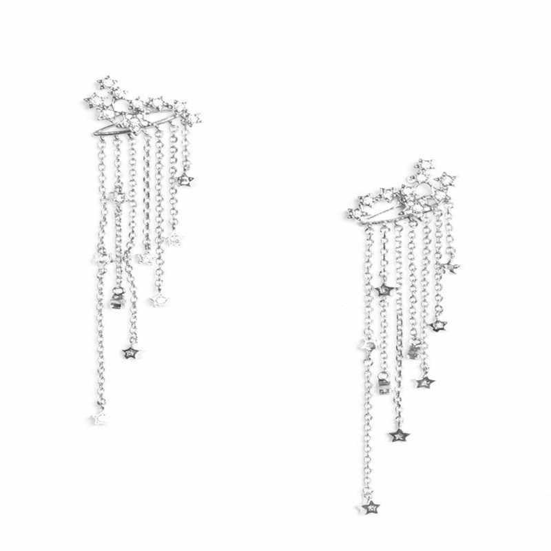 2019 Yeni Moda Bohemian Alaşım Püskül Küpe Ile Yıldız Kolye Altın Gümüş Renk Uzun Küpe Güzel Takı Hediye için Kadın s8