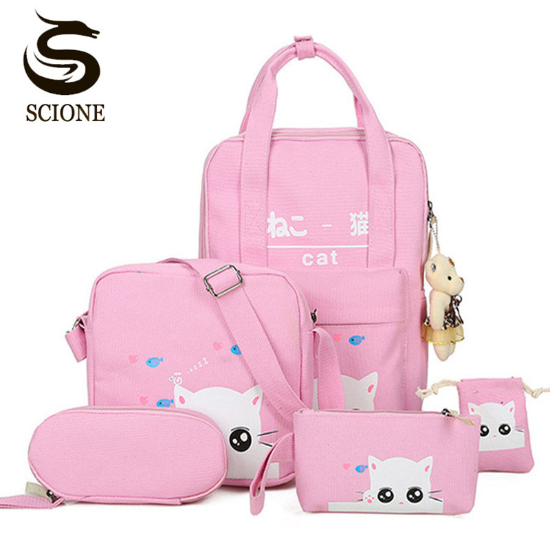 Scione Cartoon Kawaii Cat Printing Backpack Set Canvas Middle/High School Bag Laptop Travel Backpack Bagpack with Cute Gift Bear chic canvas leather british europe student shopping retro school book college laptop everyday travel daily middle size backpack