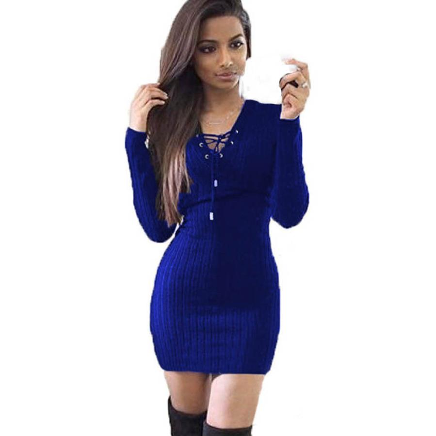 Womail Sexy Female Dress Women Winter Long Sleeve Knitted BodyCon Sweater Dress Multicolour For Girls 8.Apr.4