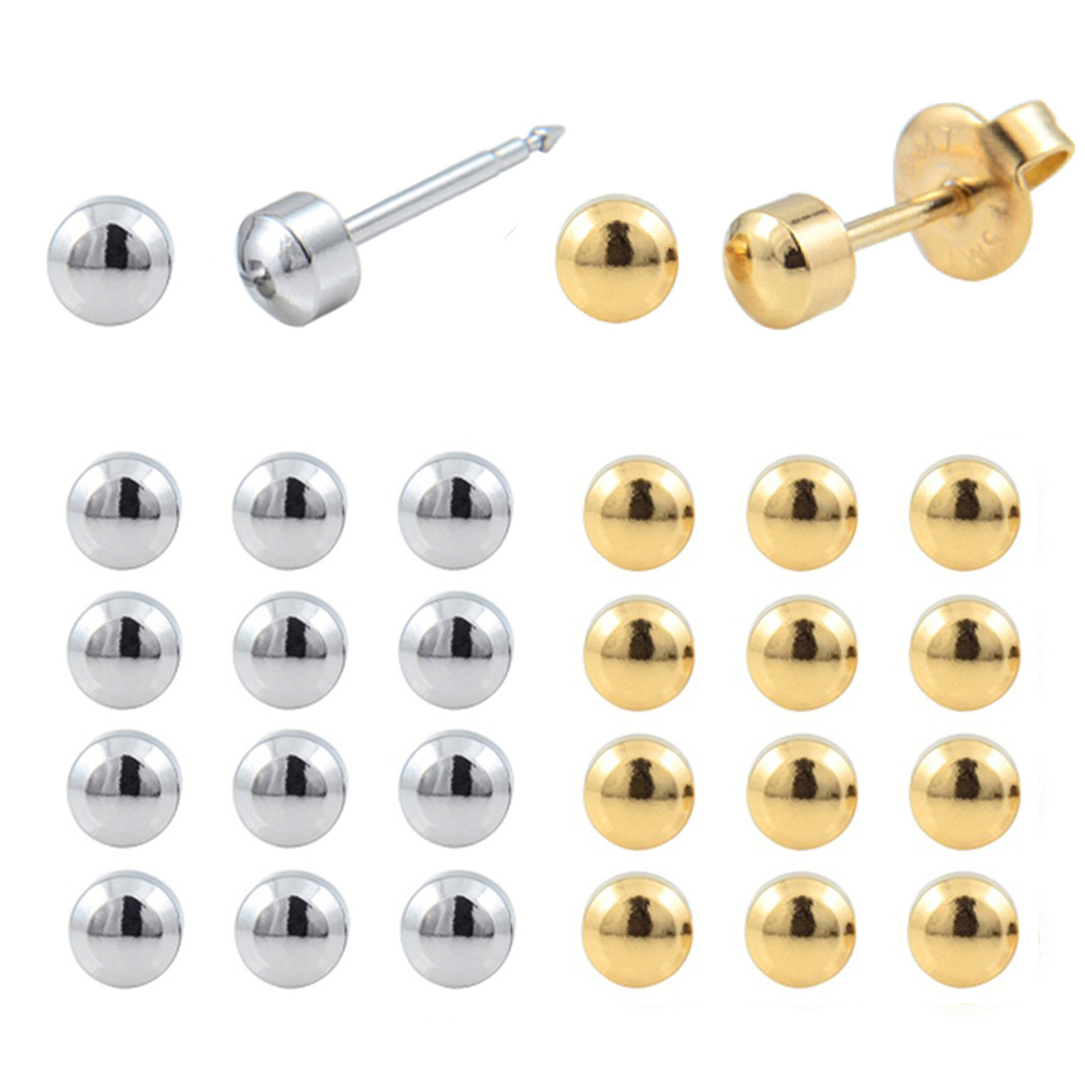 12pairs Stainless Steel Gold Silver Full Moon Piercing Ear Stud Jewelry Earring Not For