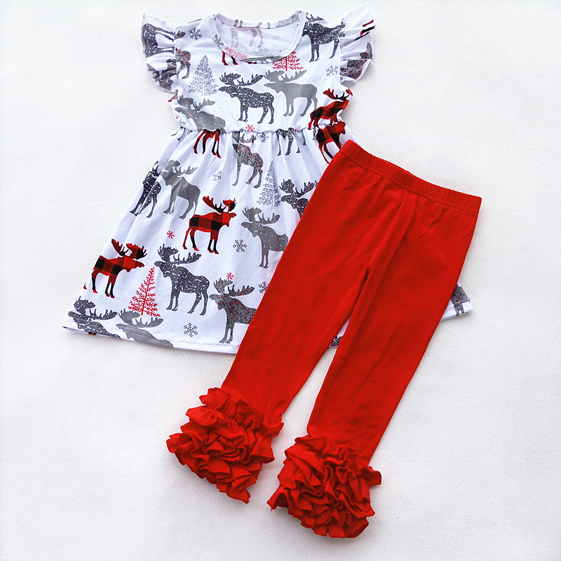 2018 Girls Christmas Moose Outfits Baby Girls 100% Cotton Boutique Ruffle Set Kids Daily Wear Clothing Christmas Tee Reindeer