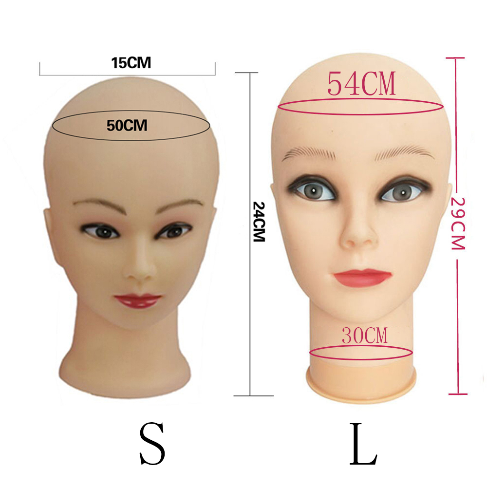 54cm Mannequin Head For Making Wig Or Display Hats/glasses Model Dolls Head Bald Female Ruber Training Head