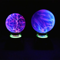 USB Magic Black Base Glass Plasma Ball Sphere Lightning Party Lamp 4 5 6 Inch Crystal