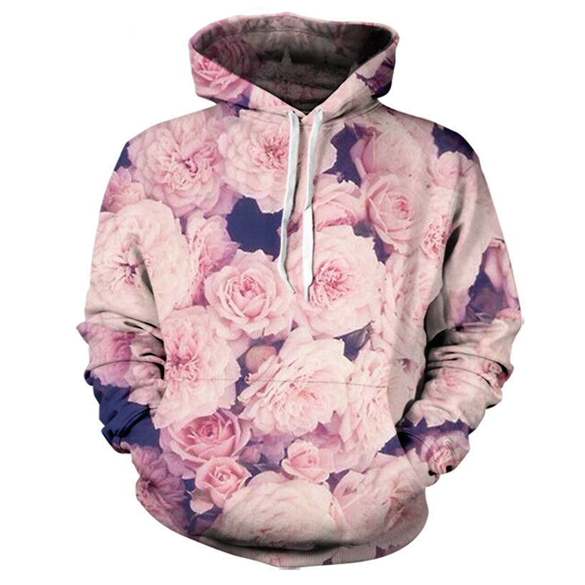 Real American size pink roses 3D Sublimation Print OEM Hoody/Hoodie Custom made Clothing plus size