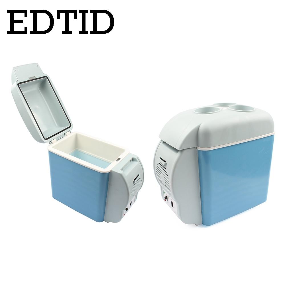 EDTID Mini Fridge Portable Auto Car Household Refrigerator Travel Truck Cooler Box Freezer Office Home Food Warmer 7L 220V 12V