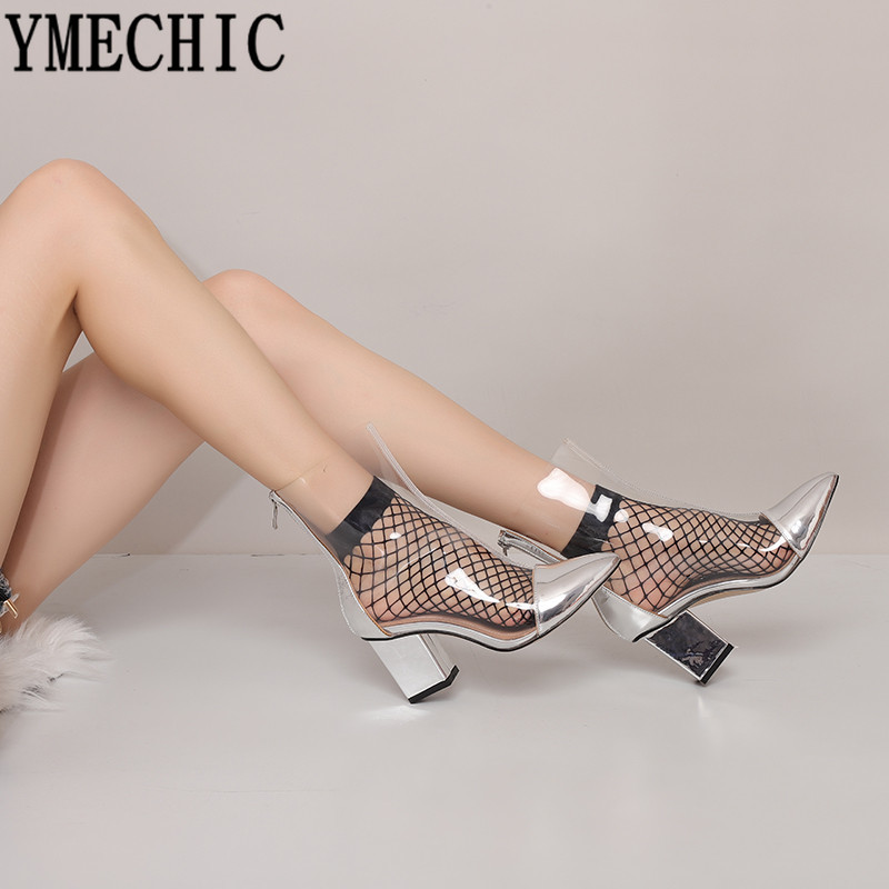 YMECHIC 2019 Spring Fashion Ankle Riding Boots Clear Bootie Gold Silver  Ladies Block Heel Shoes Transparent Boots Women Big Size-in Ankle Boots  from Shoes ... fbf2d8f8fb1f
