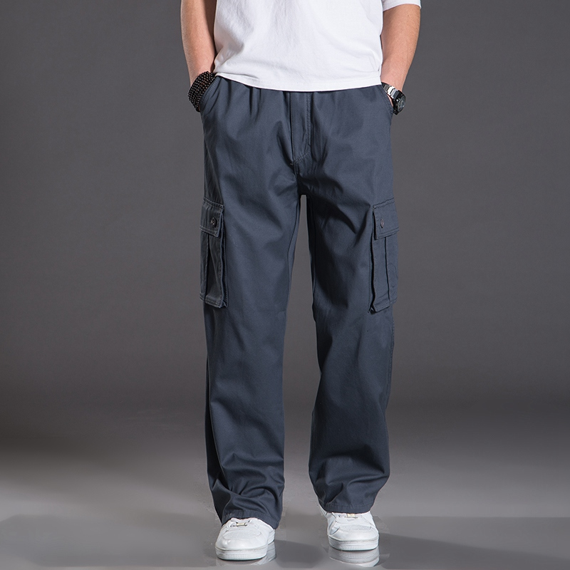 a51a000e1e7 spring Men cargo pants safari style thick pocket plus size big 7XL 8XL  Stretch out door Straight casual cotton pants large black