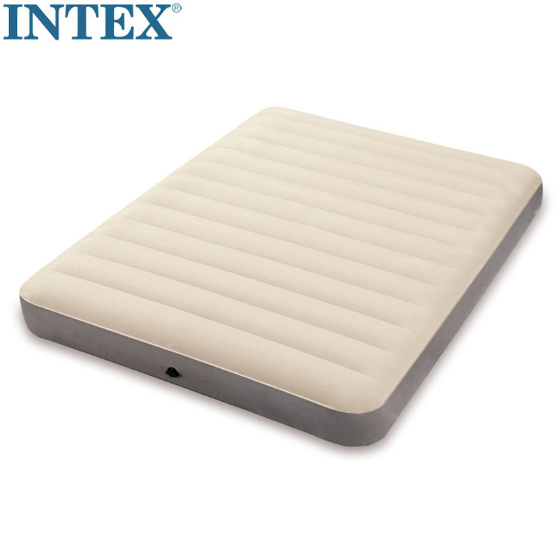 Trend Mark Intex 64702 137*190*25cm The New Flocking Air Bed Double Person Inflatable Mat Thickening Air Mattress Not Drum Kit Camping Mat Agreeable Sweetness Camping & Hiking Camping Mat