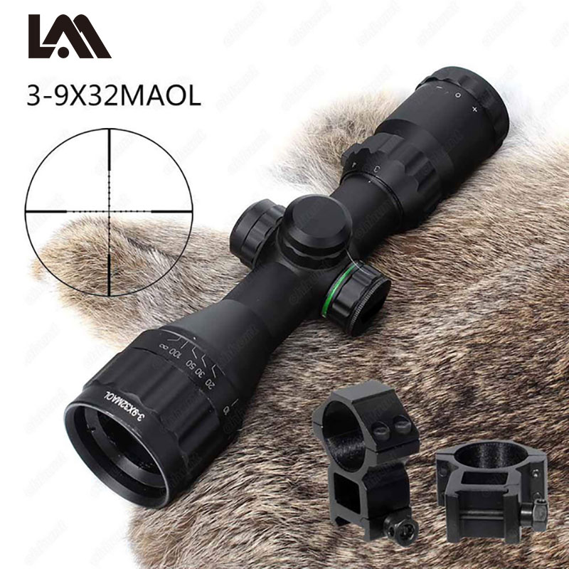 Lambul 3-9x32 Air Rifle Scope Riflescope Adjustable Green Red Dot Hunting Light Tactical Riflescope Reticle Optical Sight Scope tactial rifle scope 3 9x32 1maol mil dot hunting riflescope with sun shade tactical optical sight tube equipment for hunter