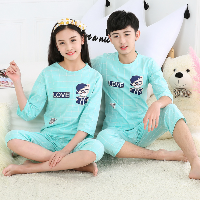 2019 Cotton Boys Girls Pajamas Summer Short Sleeve Kids Pyjamas Teen Girls Clothing Boys Clothes 10 Years Set Children Pyjama 5