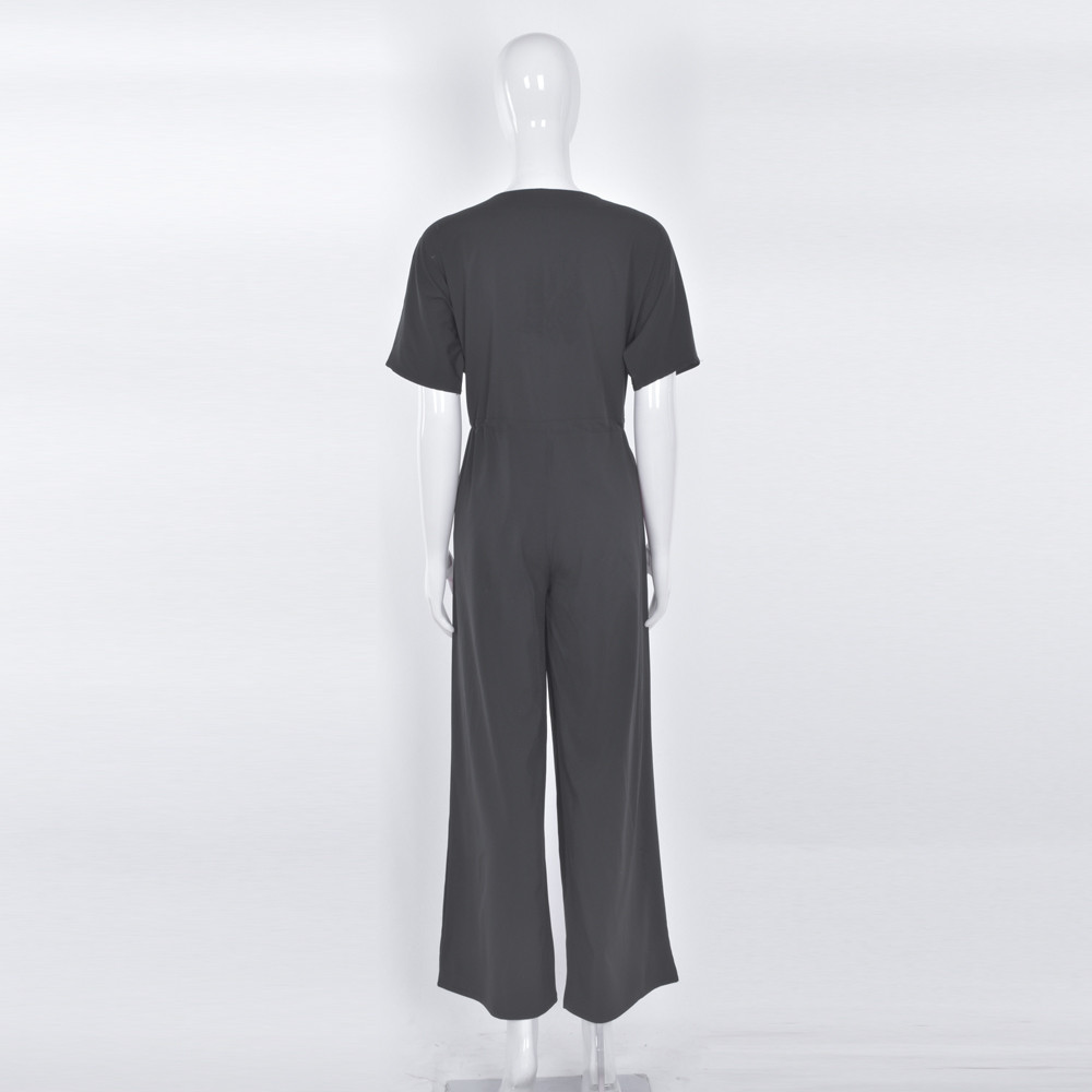 Women's Clothing Free Ostrich Women Pockets Button Long Wide Leg Romper Strappy Overalls Casual Loose Solid Jumpsuit Sleeveless Trousers