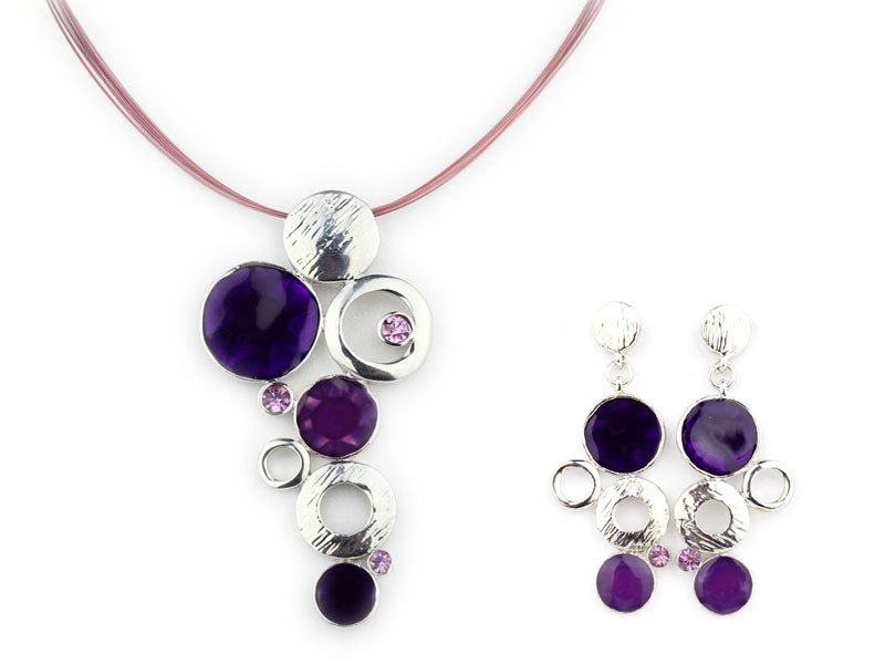 High Quality necklaces Enamel Jewelry Set Alloy Oval Necklaces Wire Cords Jewelry set Wholesale NS19239