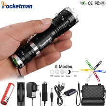 Potente XML-T6 Potente HA CONDOTTO LA Torcia Elettrica Impermeabile 5 Modalità Zoomable Flash light Clip da Cintura LED Totch Lanterna z90(China)