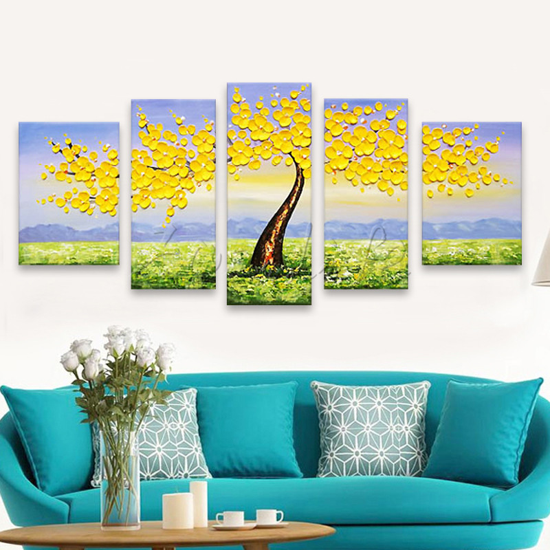 5 Pieces Panel Wall Art Palette Knife Hand Painted  Flower Oil painting On Canvas Wall Pictures Painting For Living Room blossom5 Pieces Panel Wall Art Palette Knife Hand Painted  Flower Oil painting On Canvas Wall Pictures Painting For Living Room blossom