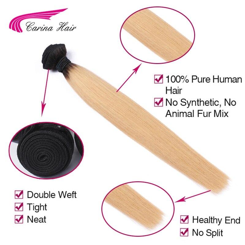 Carina Ombre Peru Hair T1B / 27 # Hair Weft 1PCS Ombre Color Straight - Rambut manusia (untuk hitam) - Foto 6