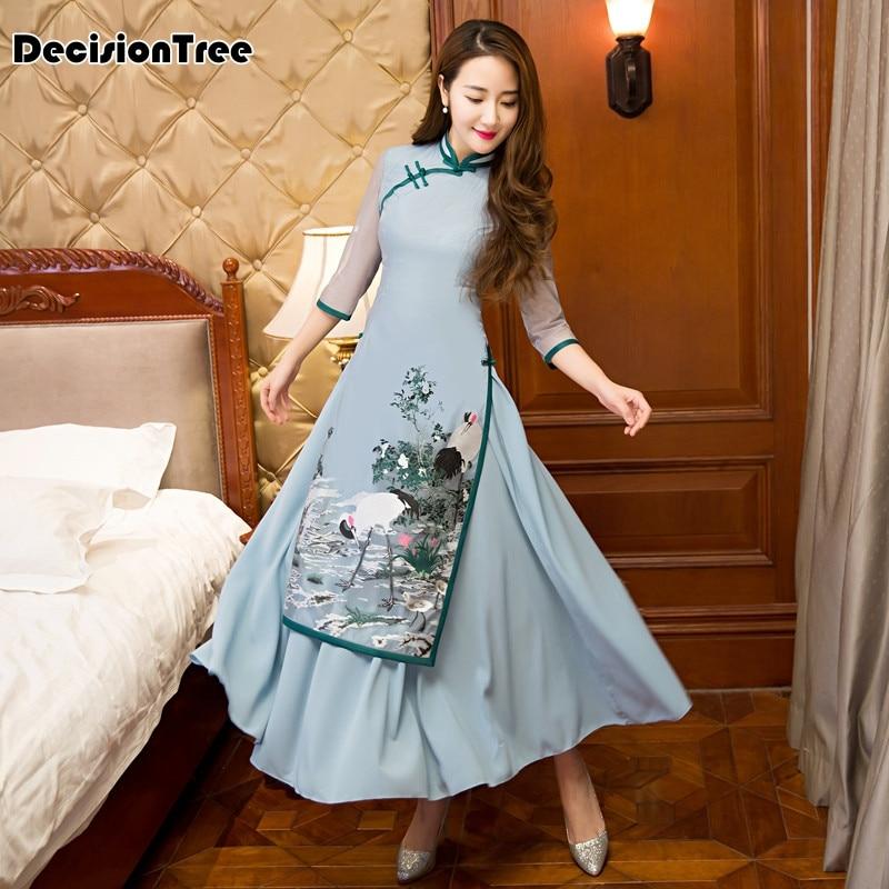 2017 ljeto ao dai cheongsam folk stil vietnam haljine široka noga - Nacionalna odjeća - Foto 2