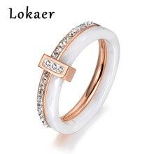 cc87d936b071 Lokaer 2 capas negro blanco cerámica cristal boda anillos joyería  rosa blanco oro Color