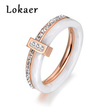 Lokaer 2 layers Black/White Ceramic Crystal Wedding Rings Jewelry Rose/White Gold Color Stainless Steel Rhinestone Engagement(China)